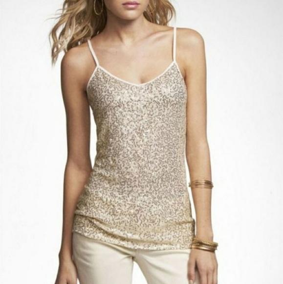 Express Tops - Express Gold Sequin Cami